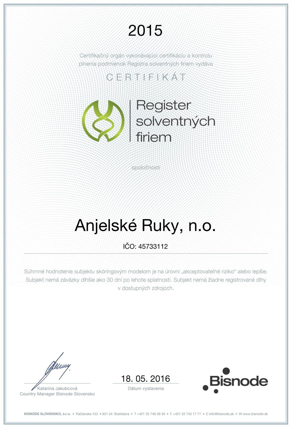 Certifikát od Bisnode